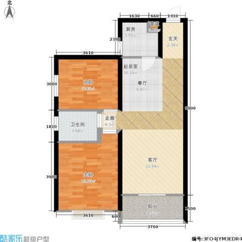 碧玺华庭2室0厅1卫1厨87.00㎡户型图