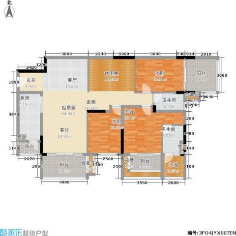 万科兰乔圣菲3室0厅2卫1厨155.00㎡户型图