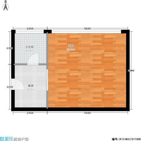 雅都1室0厅1卫1厨44.00㎡户型图