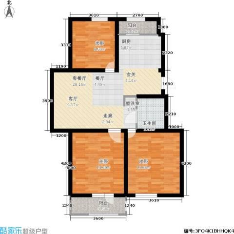 鑫鼎・广场3室1厅1卫0厨98.00㎡户型图