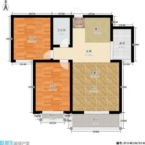 滨河悦秀2室1厅1卫1厨91.00㎡户型图