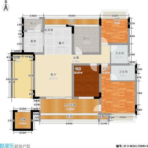 卓信龙岭3室0厅2卫1厨178.00㎡户型图