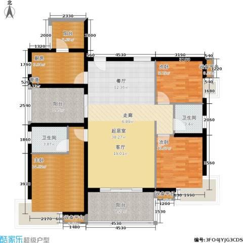 万科城市花园3室0厅2卫1厨119.00㎡户型图