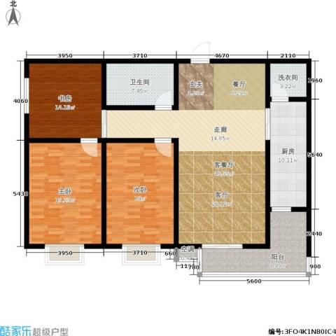 滨河悦秀3室1厅1卫1厨128.92㎡户型图