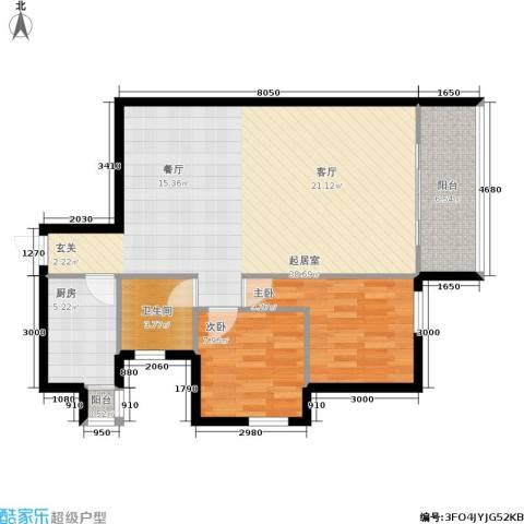万科城市花园2室0厅1卫1厨80.00㎡户型图