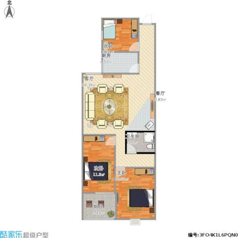 青年创业城・曼哈顿3室1厅1卫1厨132.00㎡户型图