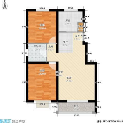 华元名居2室0厅1卫1厨89.00㎡户型图