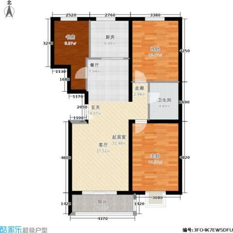 华元名居3室0厅1卫1厨112.00㎡户型图