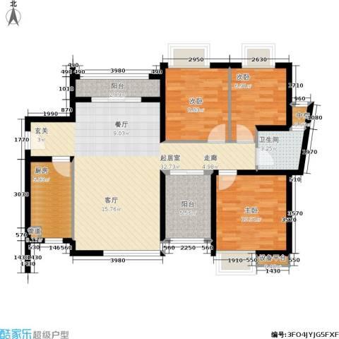 万科城市花园3室0厅1卫1厨89.00㎡户型图