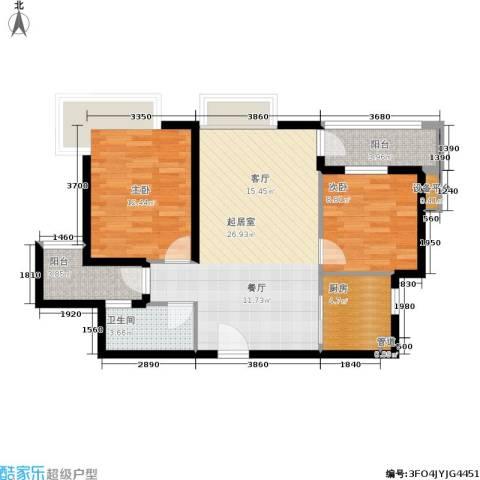 万科城市花园2室0厅1卫1厨74.00㎡户型图