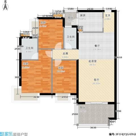 万科城市花园3室0厅2卫1厨112.00㎡户型图