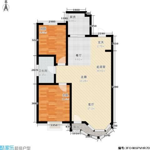 西湖城2室0厅1卫1厨100.00㎡户型图