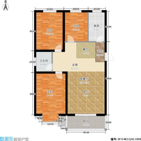 平安小镇3室1厅1卫1厨135.00㎡户型图