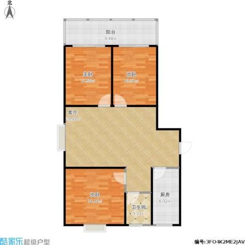 盛祥佳苑3室1厅1卫1厨115.00㎡户型图