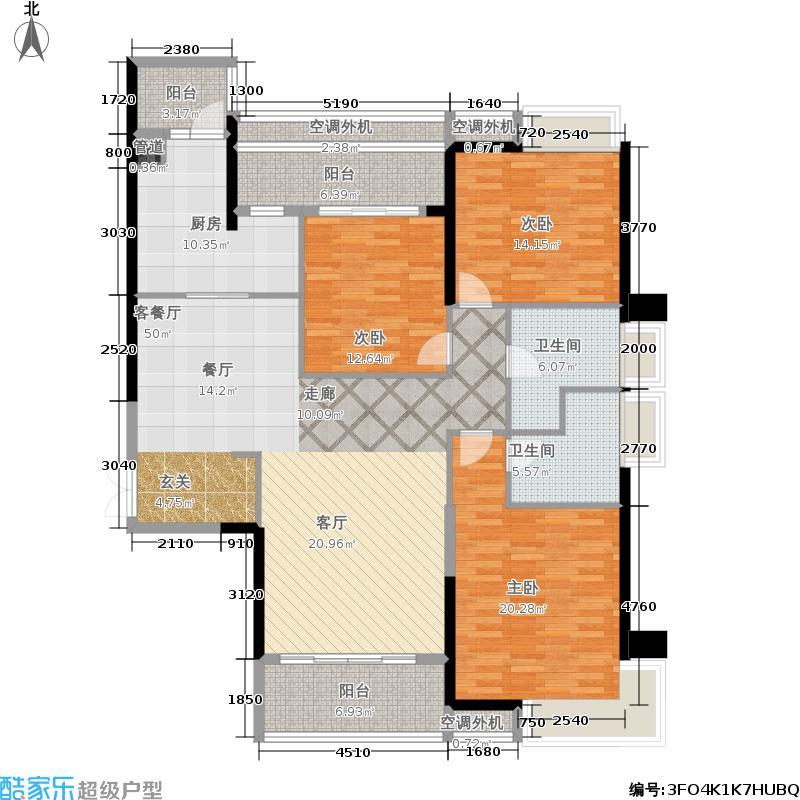 越秀星汇云锦158.77㎡1、2号楼1户型3室2厅
