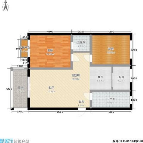 兴达广场2室1厅2卫1厨116.00㎡户型图