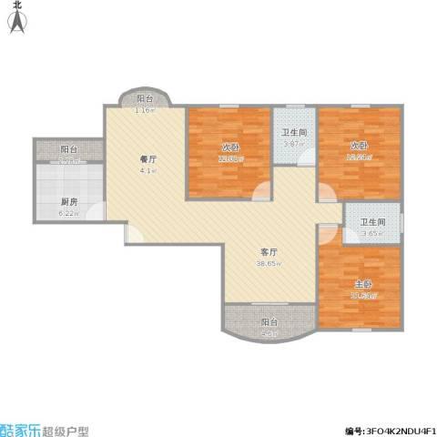 圣约翰名邸3室1厅2卫1厨128.00㎡户型图