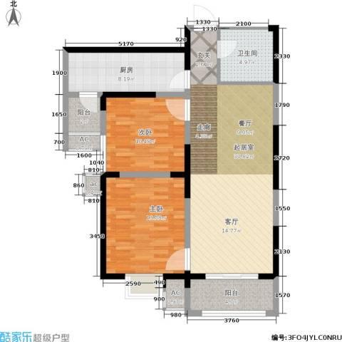 紫郡华宸2室0厅1卫1厨89.00㎡户型图