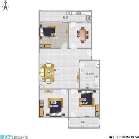 回民小区3室2厅1卫1厨140.00㎡户型图