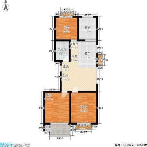 盛海第一园3室1厅1卫1厨100.00㎡户型图