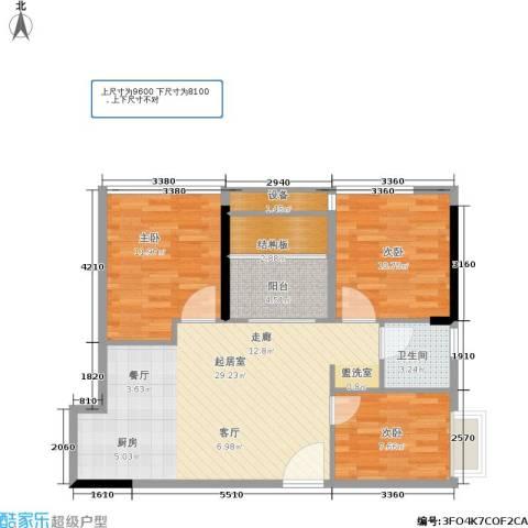 惠恺新时代3室0厅1卫0厨81.00㎡户型图