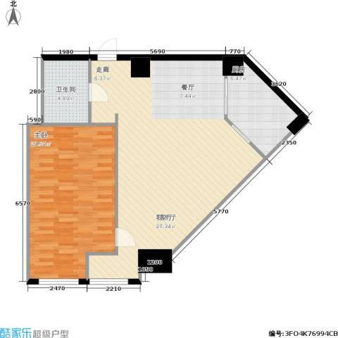 秀东尚座1室1厅1卫1厨80.00㎡户型图