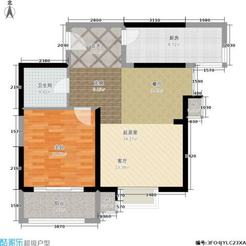 紫郡华宸1室0厅1卫1厨77.00㎡户型图