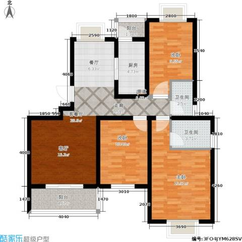 颐和盛世3室1厅2卫1厨108.00㎡户型图