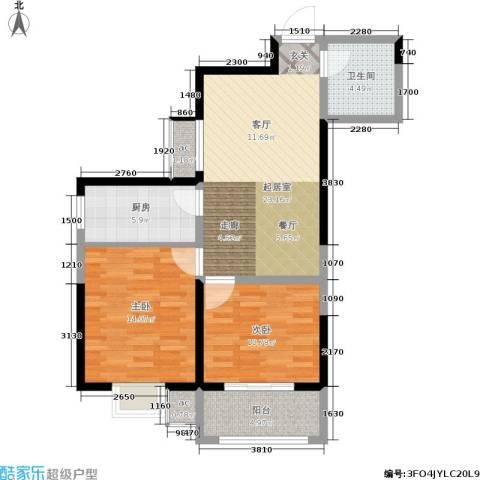 紫郡华宸2室0厅1卫1厨75.00㎡户型图