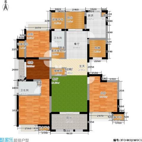 嘉实上城名都3室1厅2卫1厨143.00㎡户型图