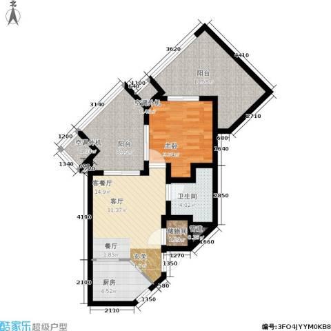 国信龙沐湾1室1厅1卫1厨66.00㎡户型图