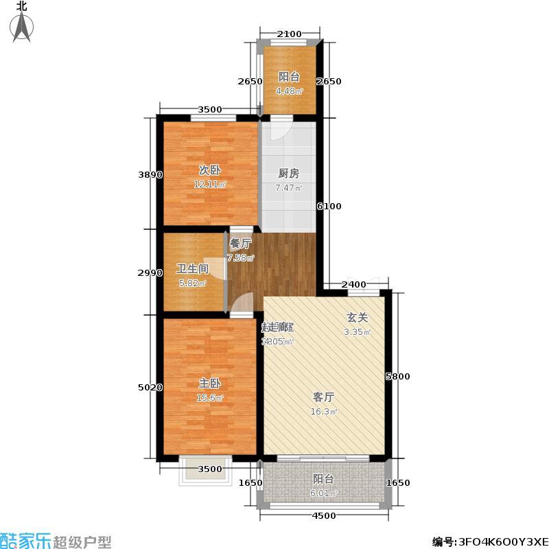 群力观江国际二室二厅使用面积74.74平米户型2室2厅
