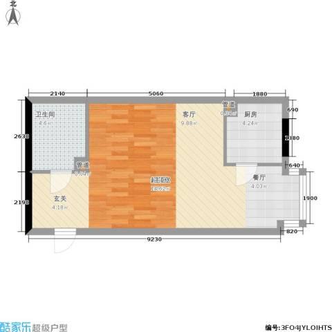 车城温泉花园1卫1厨47.00㎡户型图