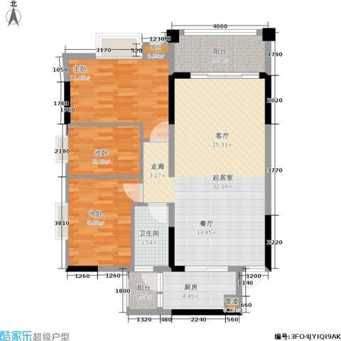 万科天河御品3室0厅1卫1厨83.00㎡户型图