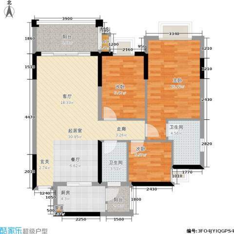 万科天河御品3室0厅2卫1厨95.00㎡户型图