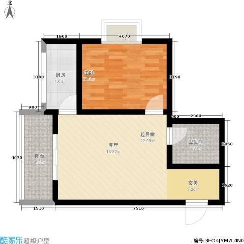 启迪书香逸居1室0厅1卫1厨54.00㎡户型图