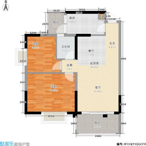 万科天河御品2室0厅1卫1厨80.00㎡户型图