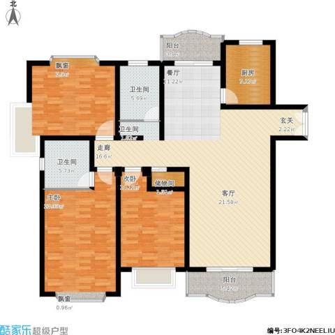 联洋新苑3室1厅2卫1厨190.00㎡户型图