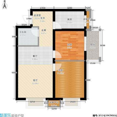 启迪书香逸居2室0厅1卫1厨71.00㎡户型图