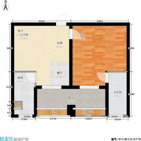 绿地商务城1室0厅1卫1厨64.00㎡户型图