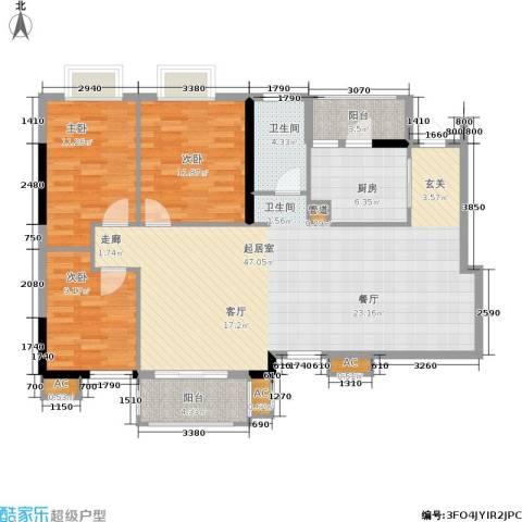 万科天河御品3室0厅1卫1厨109.00㎡户型图
