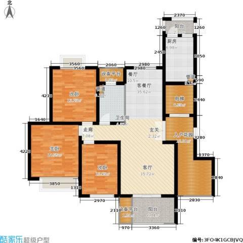 绿地商务城3室1厅1卫1厨129.00㎡户型图