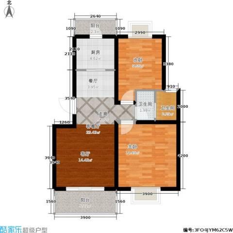 颐和盛世2室1厅2卫1厨82.00㎡户型图