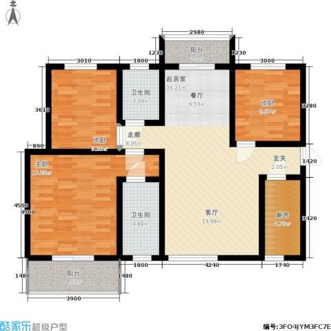 碧玺华庭3室0厅2卫1厨122.00㎡户型图