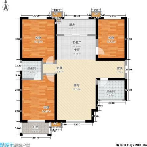 上和城3室1厅2卫1厨122.00㎡户型图