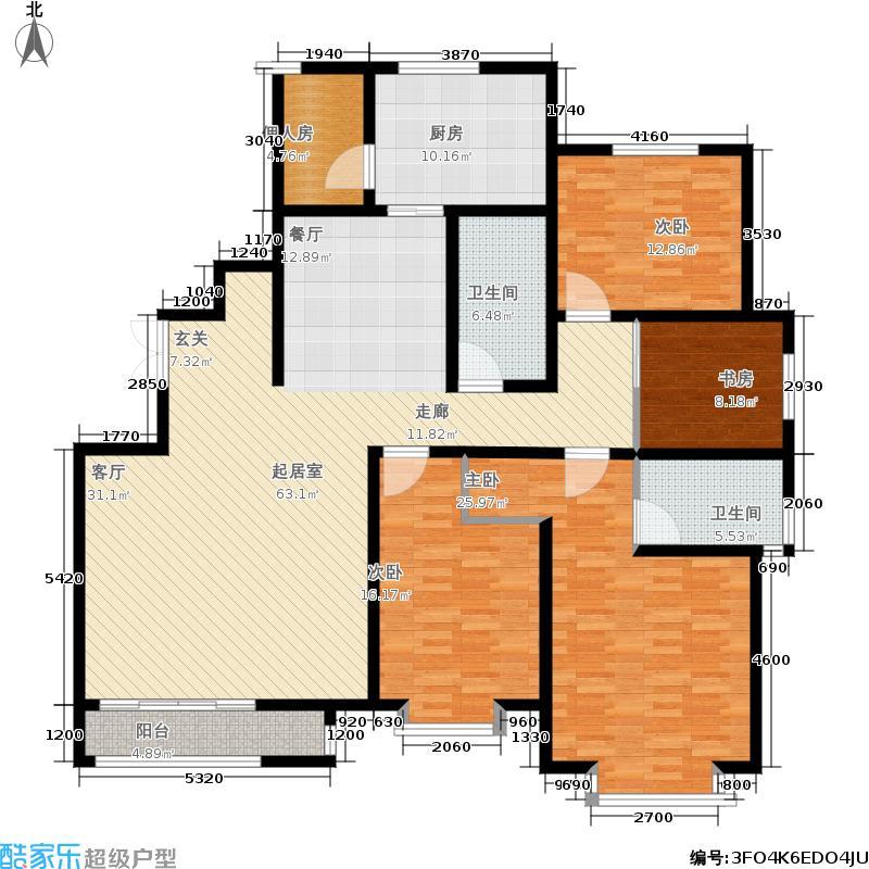 华茂名居206.36㎡I户型四居室户型4室2厅2卫