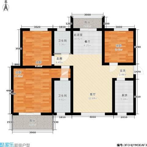 碧玺华庭3室0厅2卫1厨120.00㎡户型图