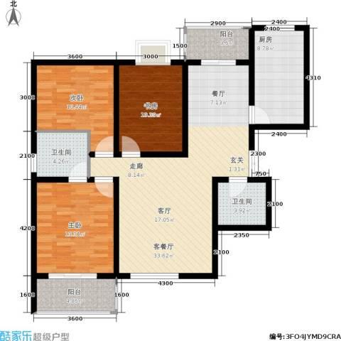 西江月3室1厅2卫1厨126.00㎡户型图
