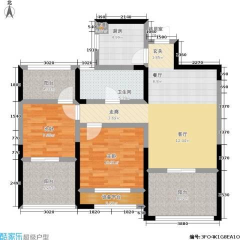 中港翡翠城2室0厅1卫1厨88.00㎡户型图