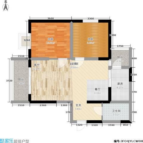 韶雨水韵星城2室0厅1卫1厨91.00㎡户型图